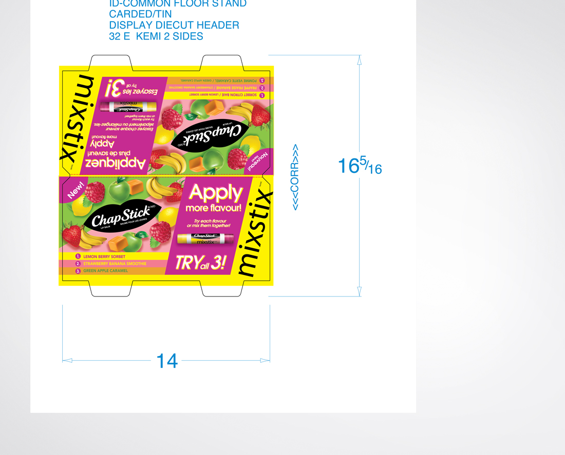 POS Counter Displays for Chapstick Mixstix Launch Promotion in Canada | Designed by freelanceportfolio.com