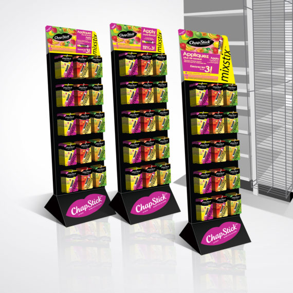 POS displays for Chapstick Mixstix launch in Canada | Designed by freelanceportfolio.com