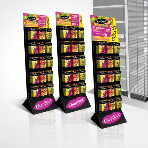 POS displays for Chapstick Mixstix launch in Canada | Designed by freelanceportfolio.com