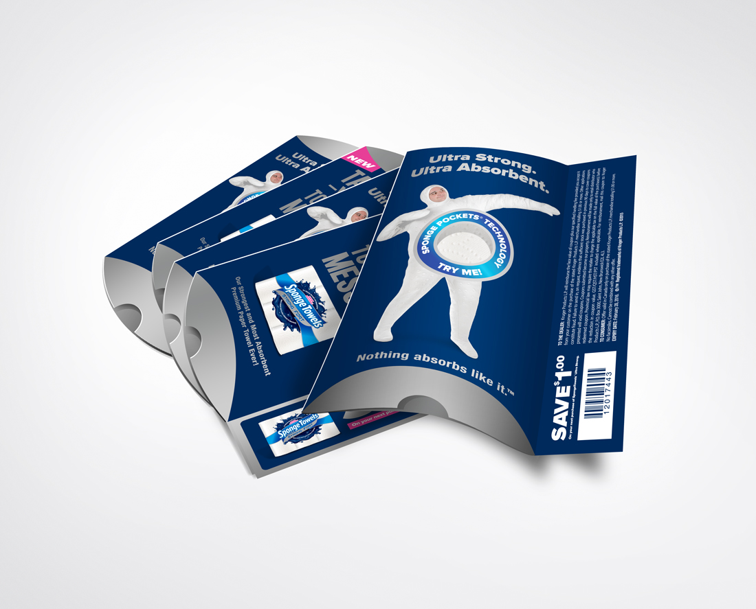 Promotional Packaging - Holds a trial size sample of Ultra Strong SpongeTowels | freelanceportfolio.com