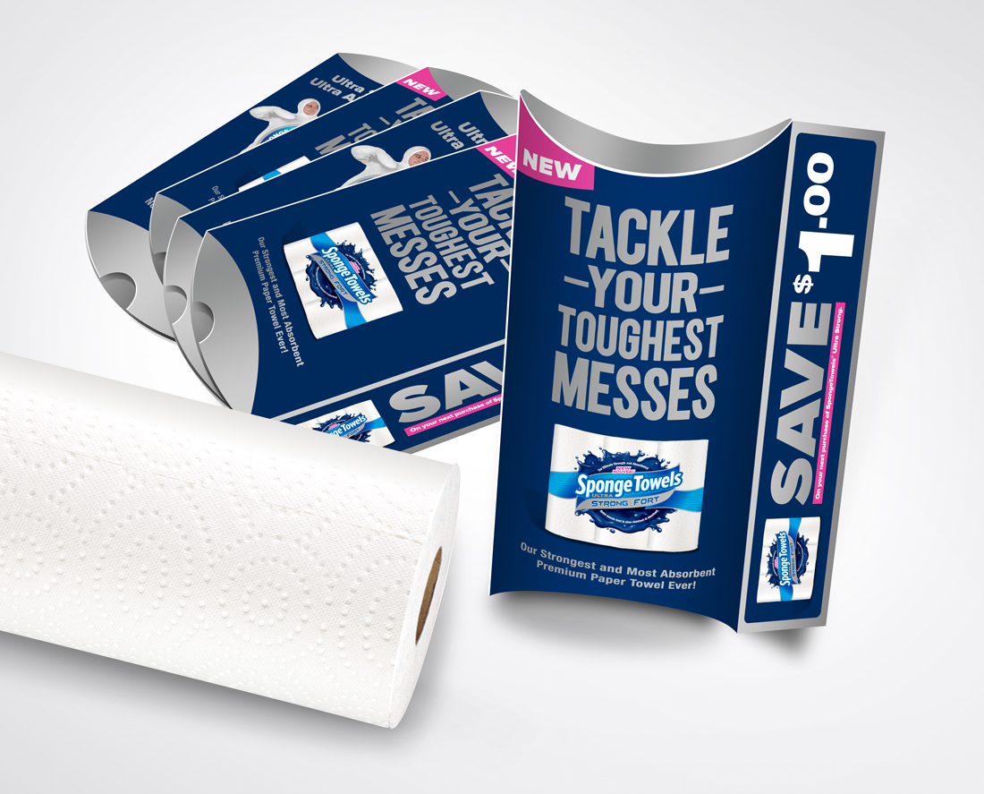 Promotional Packaging Sample Kit - Holds a trial size sample of Ultra Strong SpongeTowels | freelanceportfolio.com