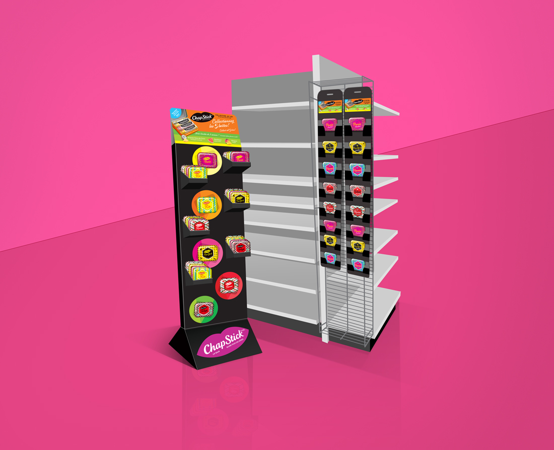 Chapstick POS floorstand & clipstrip displays for collection tins | designed by the freelaneportfolio.com