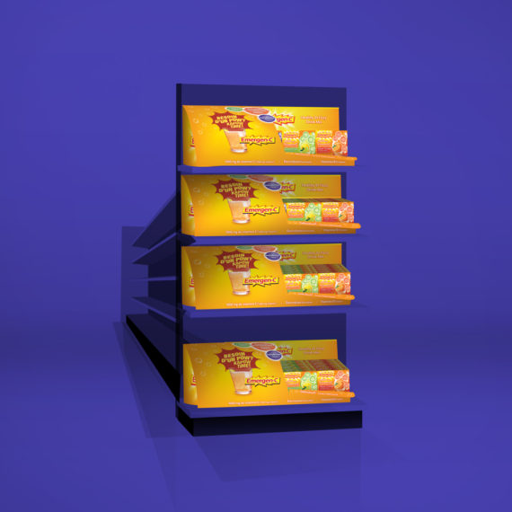 Emergen-c POS displays on end aisle | made by the freelanceportfolio.com