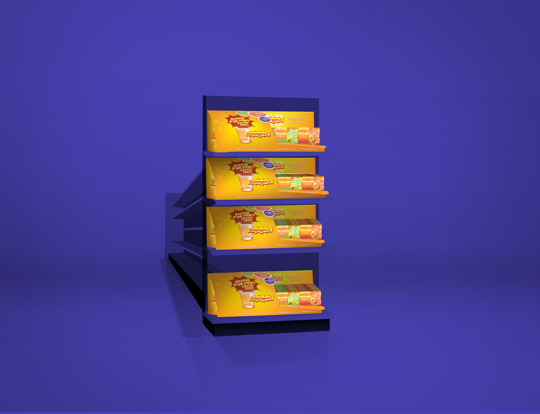 Emergen-c POS fliptray displays on end aisle | made by the freelanceportfolio.com