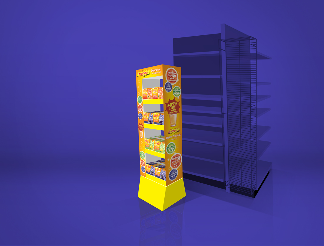 Emergen-c LCL floorstand POS display | made by the freelanceportfolio.com